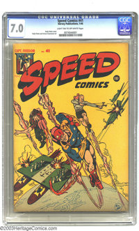 Speed Comics #41 (Harvey, 1946) CGC FN/VF 7.0 Light tan to off-white pages. Captain Freedom appears. Rudy Palais cover a...