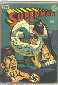 Superman #23 (DC, 1943) CGC VG/FN 5.0 Off-white to white pages. Classic World War II periscope cover. Jack Burnley cover...