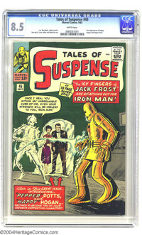 Tales of Suspense #45 (Marvel, 1963) CGC VF+ 8.5 White pages. First appearances of Happy Hogan and Pepper Potts. Overstr...