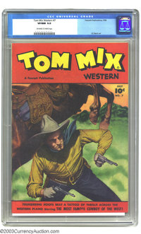 Tom Mix Western #7 (Fawcett, 1948) CGC VF/NM 9.0 Off-white to white pages. Painted cover. C.C. Beck art. Only two copies...