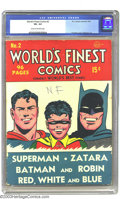 Golden Age (1938-1955):Superhero, World's Finest Comics #2 Batman and Superman (DC, 1941) CGC VG- 3.5 Cream to off-white pages. Features Zatara and Red, White...