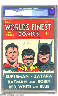 World's Finest Comics #2 Batman and Superman (DC, 1941) CGC VG- 3.5 Cream to off-white pages. Features Zatara and Red, W...