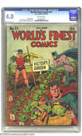 Golden Age (1938-1955):Superhero, World's Finest Comics #11 (DC, 1943) CGC VG 4.0 Off-white pages. Simon & Kirby, Jack Burnley, and Jerry Robinson art. Robins...
