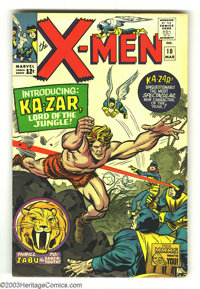 X-Men #10 (Marvel, 1965) Condition: VG/FN. First Silver Age appearance of Ka-Zar and Zabu. Art by Jack Kirby and Chic St...