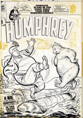 Original Comic Art:Covers, Al Avison (attributed) - Original Cover Art for Humphrey (Harvey,1950s). Humphrey and a big bear do the log-rolling thing i...