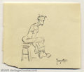 """Original Comic Art:Sketches, Frank Frazetta - Original Art Sketch """"Boots"""" (undated). Loose sketch of a young man pulling on his boots, drawn in ink on a ..."""