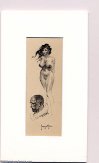 """Frank Frazetta - Original Art Sketches """"Nude and Profile"""" (undated). Very attractive and finished small sketch..."""
