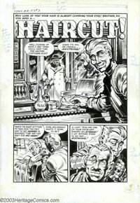 """Howard Nostrand - Original Art for Chamber of Chills #18, Complete 5-page Story, """"Haircut"""" (Harvey, 1953). A s..."""