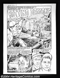 """Bob Powell - Original Complete Story Art for Black Cat #36 """"Rotting Demons"""" (Harvey, 1952). Atmospheric and gh..."""