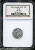 Bust Dimes: , 1814 Large Date MS64 NGC. ...