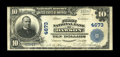 National Bank Notes:Pennsylvania, Dawson, PA - $10 1902 Plain Back Fr. 628 The First NB Ch. # 4673. The printed signatures are well executed on this $10 f...