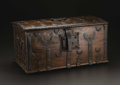Furniture : Continental, An Early Walnut and Strapped Metal Strong Box. Unknown maker, Continental. Undated. Wood, strapped metal. Unmarked. 13 inc...
