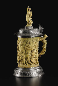A Renaissance Revival Silver Mounted Ivory Tankard Unknown maker, Germany Nineteenth Century Ivory and silver Unmarked...