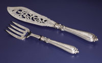 A Victorian Silver Fish Fork and Slice  Attributed to John Grinsell, Birmingham, England Circa 1883-1884 Silver Marks:...