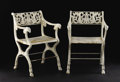 Furniture : Continental, A Pair of Nineteenth Century Louis XVI Style Cast Iron GardenChairs. Unknown maker. Circa 1880. Cast iron. Unmarked. 32...(Total: 2 )