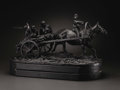Paintings, A Bronze Figural Group of Peasants Going to Market. Evgeny Aleksandrovich Lansere, Russia. 1871. Bronze with dark brown pa...