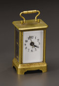 Clocks & Mechanical:Clocks, A Brass Carriage Alarm Clock. Unknown maker, possibly French. Circa 1900-1930. Brass, glass, enamel and steel. Marks: 2...