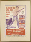 "Music Memorabilia:Posters, Elvis Presley ""Love Me Tender"" Poster. An original 12"" x 16"" posterfor Elvis' first feature film, matted and framed to an o..."