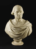 Paintings, A Fine Italian Carved Marble Bust. Domenico Menconi, Italian. 1862. Marble. Signed and Dated: D. Menconi 1862. 2 Feet ...