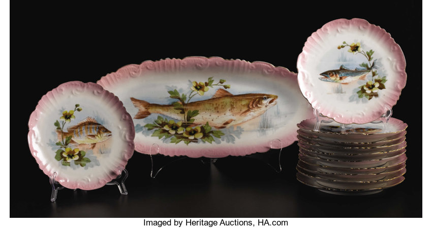 A French Porcelain Fish Set  Lewis Strauss & Son, Limoges