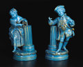 Ceramics & Porcelain, Continental:Modern  (1900 1949)  , A Pair of Sèvres Style Turquoise Glazed Figures. Unknown maker, France. Early Twentieth Century. Porcelain. Unmarked. 15.5... (Total: 2 )