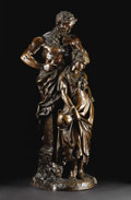 Bronze:European, A Bronze of Figural Group. Luca Madrassi (1848-1919). Italy, 19thCentury. Bronze with brown patina. Incised: L. Madrass...