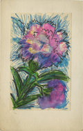 Texas:Early Texas Art - Impressionists, JOSEPHINE MAHAFFEY (American, 1903-1982). Untitled, floral. Watercolor and pen on paper, mounted on mat board. 10-3/8in. x 6...