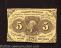 Fractional Currency:First Issue, First Issue 5c, Fr-1230, Very Fine. This is the variety with ...