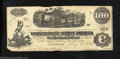 Confederate Notes:1862 Issues, 1863 $100 Railway Train; Diffused Steam from Locomotive; ...