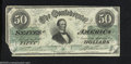 Confederate Notes:1862 Issues, 1862 $50 Black with green overprint; Jefferson Davis, T-50, ...