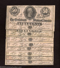 """Confederate Notes:1864 Issues, Eight 1864 50 Cents Bust of Jefferson Davis ending in """"40"""", T-... (8 notes)"""