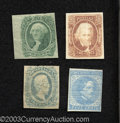 Confederate Notes:Group Lots, Four Confederate Stamps, 5¢ Scott 7, Extremely Fine; 2¢ Scott ...(4 items)