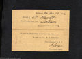 Confederate Notes:Group Lots, 1862 Slave Impressment Paper by Order of Lt. Col. W.H. Stevens,...