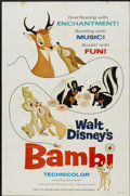 """Movie Posters:Animated, Bambi (Buena Vista, R-1966). One Sheet (27"""" X 41"""") Style A.Animated...."""