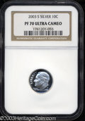 Proof Roosevelt Dimes: , 2003-S Silver PR 70 Deep Cameo NGC. ...