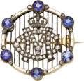 Estate Jewelry:Brooches - Pins, Sapphire, Diamond, and Enamel George V Royal Presentation Brooch.English, circa 1913. Circular, of openwork cagework ...(Total: 2 Items)