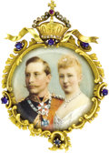 Estate Jewelry:Brooches - Pins, German Gold Brooch with Images of Prince William of Prussia and HisWife . Circa 1881. Set within an intricate gold fr...