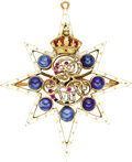 Estate Jewelry:Brooches - Pins, Edward VII enameled Gold and Sapphire Royal PresentationPendant/Brooch. English, circa 1905. Designed as a whiteenam... (Total: 2 Items)