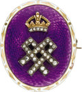 Estate Jewelry:Brooches - Pins, Oval Queen Alexandra Enameled Gold and Diamond Royal PresentationBrooch. English, circa 1905. Of violet guilloché...(Total: 2 Items)