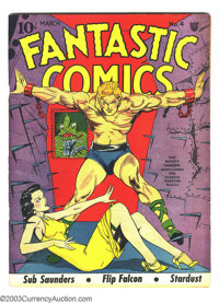"Fantastic Comics #4 (Fox, 1940) Condition: Apparent VF- Moderate (P). Lou Fine cover. George Tuska art. Gerber ""sca..."