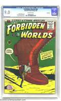 """Silver Age (1956-1969):Horror, Forbidden Worlds #66 Bethlehem pedigree (ACG, 1958) CGC VF/NM 9.0Off-white pages. """"There's a New Moon Tonight"""" listed in #1..."""