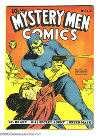 Mystery Men Comics #13 (Fox, 1940) Condition: Apparent FN+ Extensive (P). Intro Lynx and sidekick Blackie. George Tuska...