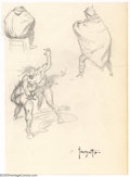 Original Comic Art:Sketches, Frank Frazetta - Original Sketches, Fighting Savages and Cloaked Figure (undated). This piece has three pencil sketches. We ...