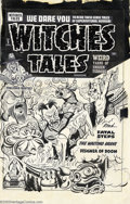 Original Comic Art:Covers, Al Avison - Original Cover Art for Witches Tales #9 (Harvey, 1952).In this weird, wild cover, a menacing, heavily-fanged or...