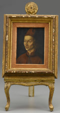 Fine Art - Painting, European:Other , POSSIBLY CONTINENTAL SCHOOL. In Renaissance style. Portrait of aMan. Oil on panel. With displaying easel. 5-3/4in. x 4-...