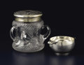 Silver & Vertu:Hollowware, An Edwardian Glass and Silver Biscuit Jar. Unidentified maker, Birmingham, England. Circa 1901-1902. Cut glass and silver... (Total: 2 )