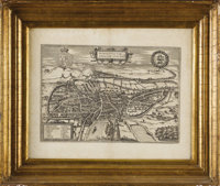 A Selection of Three Engraved Maps  Georg Braunt and Franz Hoogenberg Circa 1572-1618 Uncolored Engraving with large mar...