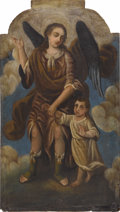 Fine Art - Painting, European:Antique  (Pre 1900), A Spanish Colonial Painting of an Archangel and Child. Unknownartist, Spanish. 19th Century. 40.5 inches x 22.75 inches. ...