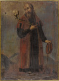 Sculpture, A Spanish Colonial Painting of a Saint. Unknown artist, Spanish. 19th Century. 33 inches x 24.25 inches. Draped in a red...