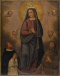 Fine Art - Painting, European:Antique  (Pre 1900), A Spanish Colonial Painting of the Virgin Mary. Unknown artist,Spanish. 19th Century. 41.2 inches x 32.75 inches. The V...